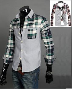 Men's Contrasting Plaid Shirt. Clearance $16.95