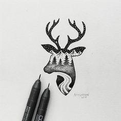 black-white-animal-landscape-hybrid-drawings-sam-larson-steel-bison-10