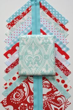 Christmas Red and Aqua Zippered Pouch Fabric Sewing Kit.