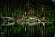 Photo print of a lake in Finland forest