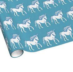 Unicorn with Blue Pattern Wrapping Paper; Abigail Davidson Art; ArtisanAbigail at Zazzle
