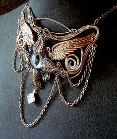 SOLD Gothic Steampunk Sable Evil Eye Necklace by twistedsisterarts