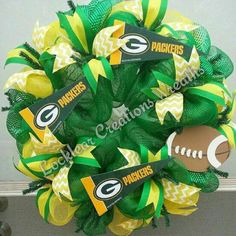 Share Your Pride in your NFL team with a Green Bay Packers Deco Mesh Wreath. Wreath measures 24x24. Two Matching Ribbons flow throughout this