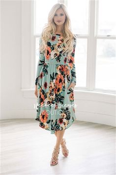 MINT WATERCOLOR LONG SLEEVE DRESS