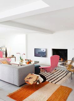 Pink hues in living room