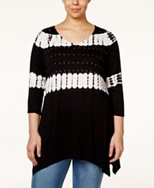 Belldini Plus Size Tie-Dyed Studded Tunic