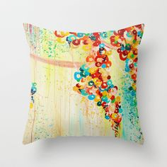 SUMMER IN BLOOM - Beautiful Abstract Acrylic Painting Vibrant Rainbow Floral Nature Theme  Throw Pillow by EbiEmporium - $20.00