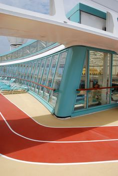 Running tracks on the deck of the Vision of the Seas cruise ship.