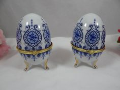 Blue and White Porcelain Egg Trinket Box Jewelry by SecondWindShop, $15.00