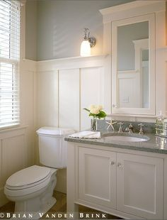 A powder room is just a rather more fancy way of referring to a bathroom or toilet room. Just like in the case of a regular bathroom, the powder room may present different challenges related to its interior design and… Continue Reading → House Bathroom, Small Bathroom, Upstairs Bathrooms, Bathrooms Remodel, Bath Remodel, Bathroom Decor, Wainscoting Bathroom, Beautiful Bathrooms, Downstairs Bathroom