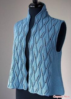 Find and save knitting and crochet schemas, simple recipes, and other ideas collected with love. Cardigan Pattern, Knit Cardigan, Lace Knitting, Knitting Patterns Free, Free Pattern, Crochet Woman, Knit Crochet, Blue Vests, Knit Jacket