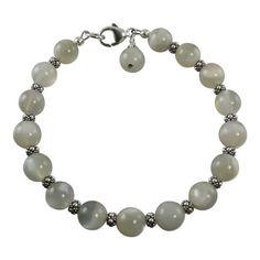 Gray Moonstone Sterling Silver Bead Bracelet