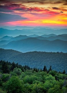 Photo about Blue Ridge Parkway Scenic Landscape Appalachian Mountains Ridges Sunset Layers over Great Smoky Mountains National Park. Image of mountain, peaks, evening - 22902369 Blue Ridge Parkway, Blue Ridge Mountains, Great Smoky Mountains, Colorful Mountains, Beautiful Sunset, Beautiful World, Beautiful Places, Beautiful Pictures, Landscape Photography
