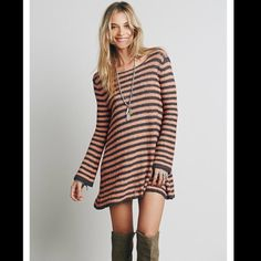 NWT Free People Striped Tunic Sweater Peach and black in a textured pullover with open back. Goes great with leggings. No trades. Generous dancing with bundle. Free People Tops Tunics