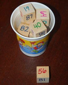 easy DIY number blocks for practice number order. Students can pull out four cubes and put the number in order.