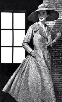 1954 Jacques Fath coatdress, model Elinor, photo by Philippe Pottier …