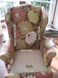 How to Reupholster a Wingback Chair: Part 2-Putting It Back On (Picture Tutorial) | The Creative Maven / Eeny Meeny & Moe