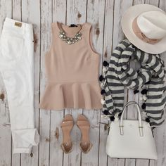 Pink peplum top, white jeans, stripe tassel scarf, white purse, nude sandals, bow hat // http://www.stylishpetite.com/2015/04/daily-outfits-recent-purchases-and-bow.html