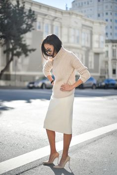 """Pin for Later: These Style Bloggers Will Give You a Great Reason to Go Shopping Anh Sundstrom from 9to5Chic """"Focus on the finishing touches! Lipstick always makes me feel confident."""""""