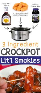 3 Ingredient Cocktail Sausages 12 Mind-Blowing Ways To Cook Meat In Your Crockpot Crock Pot Recipes, Crock Pot Food, Crockpot Dishes, Slow Cooker Recipes, Cooking Recipes, Crockpot Meat, Cooking Tips, Catering Recipes, Cooking Quotes