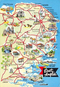 FYI: Vintage Map Postcard of East Anglia, Norfolk, Suffolk, Norwich, Ipswich by CavalierPostcards England Map, Suffolk England, England Tourism, Uk Tourism, Norwich England, Norwich Norfolk, Norfolk Beach, The Tremeloes, Historia