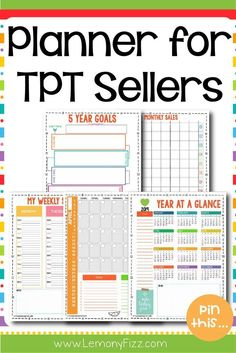 Printable Planner for TPT Sellers Powerpoint Lesson, Planner Dividers, Bullet Journal How To Start A, Teacher Created Resources, Journal Template, Printable Planner, Printables, Free Printable, Teacher Planner
