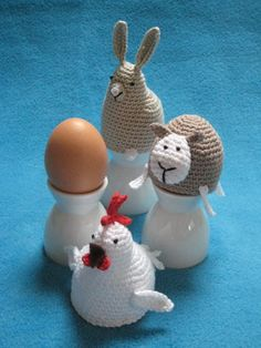 Egg cosy chicken bunny sheep easter spring crochet by Millionbells