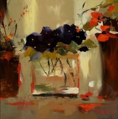 'Pansies' - Mary Davidson beautiful splashes of orange My Art Studio, Painting Still Life, Love Art, Painting Inspiration, Painting & Drawing, Bouquet, Art Gallery, Illustrations, Pansies