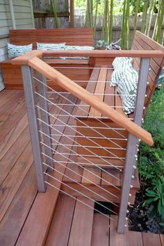 Contemporary Deck with Rome 42 in. Balcony Railing Starter Kit, Tigerwood…