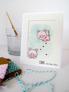 MFT Hog Heaven; watercolor; pastel; soft; flying pig; piggies; oink; birthday; love; valentine; pale pink pale blue; pair