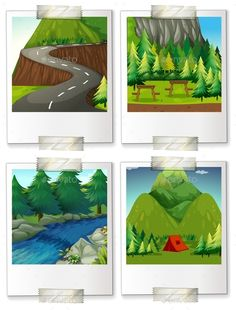 four pictures of camping scenes