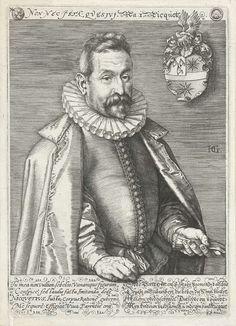 Hendrick Goltzius | Portret van Jan Nicquet op 56-jarige leeftijd, Hendrick Goltzius, 1595 | Portret van Jan Nicquet, koopman en kunstverzamelaar, ten halven lijve weergegeven. Rechtsboven zijn familiewapen. Onder de voorstelling vier regels Latijnse en vier regels Nederlandse tekst in kalligrafie. Vertaling van de Latijnse tekst: U, mijn zoon, kijk niet naar mijn gezicht of louter naar mijn uiterlijk, maar ik heb ook loffelijke, navolgenswaardige daden verricht. Ik, Nicquet, stuur mijn…