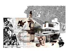 Spectacle in the city: the cinema of towers situated in cadiz. composite drawing of urban plan, proposal model and perspective Spring Architecture, Cinema Architecture, Site Analysis Architecture, Post Modern Architecture, Architecture Concept Drawings, Architecture Graphics, Architecture Portfolio, Architecture Photo, Pavilion Architecture