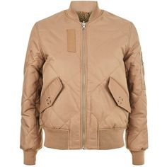 Whistles Carter Reversible Bomber Jacket ($190) ❤ liked on Polyvore featuring outerwear, jackets, turtleneck jacket, beige bomber jacket, beige turtleneck, bomber style jacket and turtleneck tops