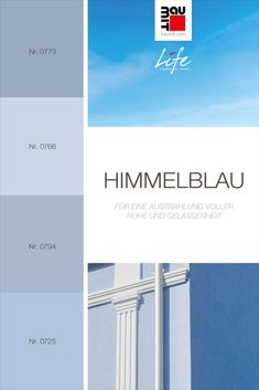 Ein helles bis mittleres Blau, strahlt Ruhe und Gelassenheit aus. Fassaden mit Blautönen werden immer kühler / kälter und geräumiger aussehen als andere Nachbargebäude. Himmelblau passt gut zu hellen neutralen Farben, die mit bestimmten Blauschattierungen harmonisieren. #wirkungvonwandfarbe #wirkungvonfarbe #farbpsychologie #Farbtrends2020wohnen #Farbtrends2020 #Farbtrend #Farbtrendswohnen #inspiration #farbinspiration #blau #himmelblau #babyblau #wandfarbe #fassadestreichen #fassade Himmelblau, Colours, Nature, Neutral Colors, Baby Blue, Shades, Paint, Spot Lights, Naturaleza