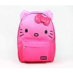 Hello Kitty Backpack Pink Ombre ($45) ❤ liked on Polyvore featuring bags, backpacks, backpack, animals, cat, hello kitty, pink bag, animal bag, bow bag and strap backpack