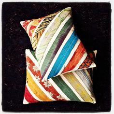 Vintage kantha strips making a lovely cushion.