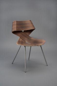 twisted wood veneer chair designed by Sara Rowghani, debuted at ICFF