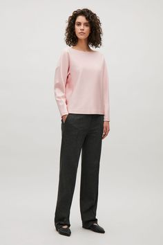Wide-neck top - Rose Pink - Tops - COS GB