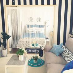 sweetieさんの、リビング,観葉植物,キャンドル,IKEA,マスキングテープ,一人暮らし,Francfranc,賃貸マンション,ホテルライク,カリフォルニアが大好き,ヒモカーテン,のお部屋写真