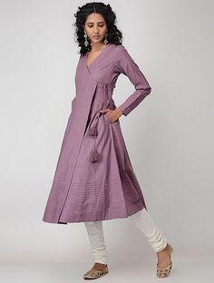 Purple Cotton Slub Angrakha with Pintucks Pakistani Formal Dresses, Pakistani Dress Design, Kurta Designs Women, Blouse Designs, Frock Fashion, Fashion Dresses, Kurti Embroidery Design, Kurta Neck Design, Kurti Designs Party Wear