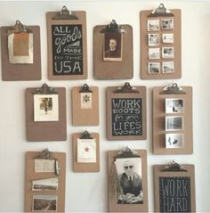 Possible idea for our walls? Great way to change a display quickly, could paint some of the boards with blackboard paint......,.,