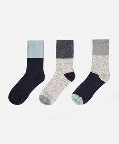 Σετ 3 ζεύγη μπλε κάλτσες - OYSHO
