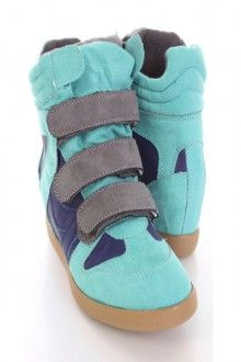 Mint Faux Suede Leather Strappy Sneaker Wedges