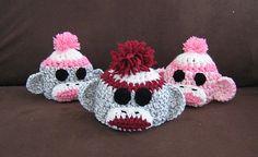 Free Crochet Sock Monkey Hat Pattern.