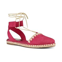 Nine West Unah Espadrille Sandals ($50) ❤ liked on Polyvore featuring shoes, sandals, suede sandals, pink flat sandals, ankle strap sandals, ankle wrap sandals and boho sandals
