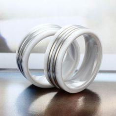 High Polished White Ceramic Ring with Dual Offset Stainless Steel Inlay |Ceramic Rings 24HOUR SHIPPING
