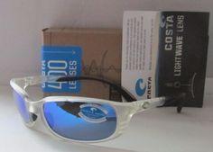 COSTA DEL MAR matte crystal/blue mirror BRINE POLARIZED 400G sunglasses NEW!