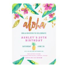 tropical luau birthday invitation - Are you planning a party this holiday season? Halloween Birthday Invitations, Party Invitations Kids, Holiday Invitations, Engagement Party Invitations, Shower Invitations, Invites, Birthday Ideas, Birthday Board, Invitation Ideas