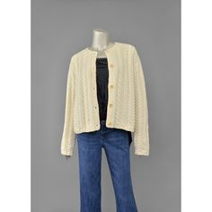 Vintage Fisherman Sweater • Cream Wool Cardigan Sweater • J Crew 80s Sweater • Cable Knit Cardigan • Oversize Cardigan • 1980s Wool Sweater (M/L)  #vintage #clothing #fashion #style #cardigan #cardigans #sweater #sweaters #fisherman #cream #wool